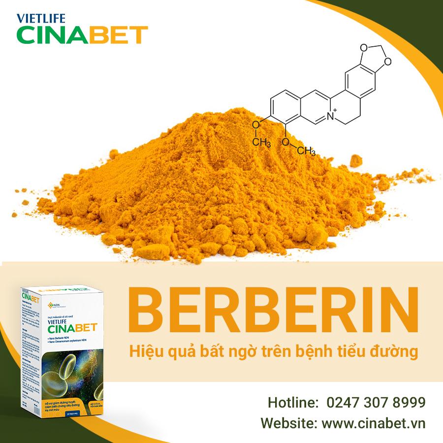 Vietlife Cinabet là sản phẩm cho người tiểu đường chứa Berberin