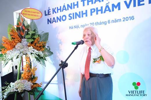 GS.VS Nguyễn Văn Hiệu - Nguyên Chủ tịch Viện Hàn lâm KH&CN Việt Nam phát biểu tại lễ khánh thành Nhà máy Nano Sinh phẩm Vietlife