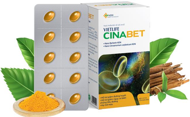 Vietlife Cinabet - sản phẩm hỗ trợ giảm đường huyết, mỡ máu